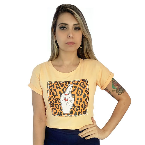Tshirt Cropped Oncinha Amarela