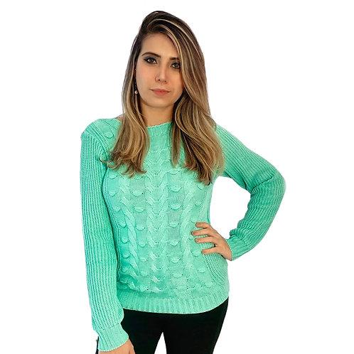 Blusa Tricot Verde Água Trançado