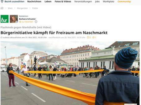 Bürgerinitiative kämpft für Freiraum am Naschmarkt, meinbezirk.at 26. Mai, 2021