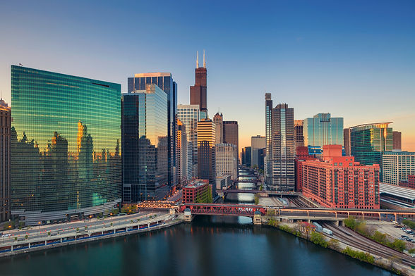 Chicago at dawn. Cityscape image of Chicago downtown at sunrise..jpg