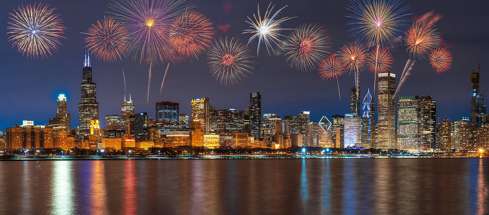 Multicolor Firework Celebration over the Panorama of Chicago Cityscape river side along La...s, .jpg