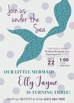 Mermaid Themed Birthday Invitation