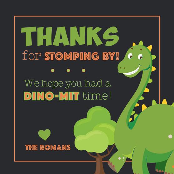 Dinosaur Themed Birthday Thank You
