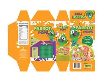 Parrot Pops Cereal Packaging