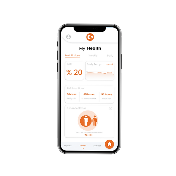 CoWear iPhone X mockup front Health.png