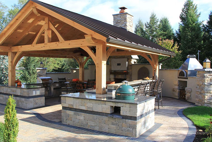 custom outdoor patio cover kitchen fireplace stamped concrete