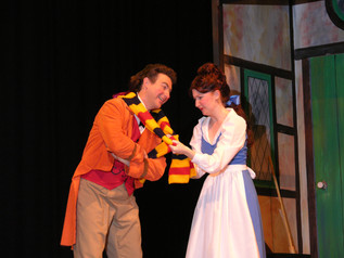 Neil Ivett as Lefou and Candice Nugent as Belle