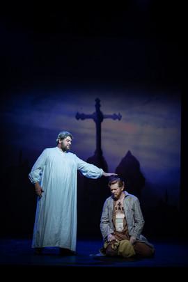 Richard Brown as Bishop Myriel and Alex