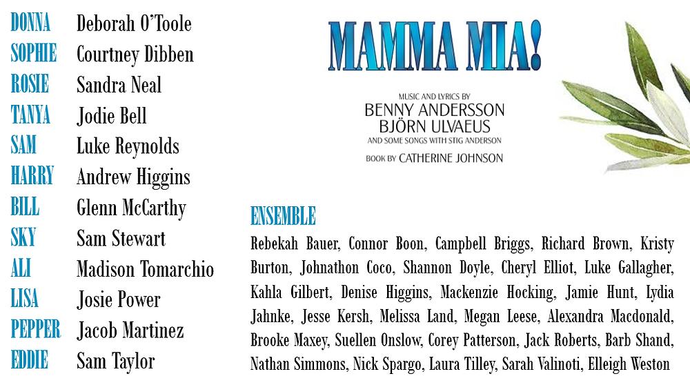 Cast list for Mamma Mia!
