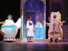 Peggy Pulvirenti as Mrs Potts, Candice Nugent as Belle and Sharon Ransom as Madame
