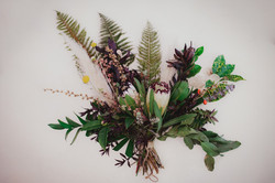 Fern and protea bouquet