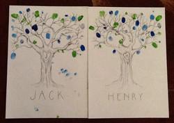Leaved 1st birthday fingerprint tree