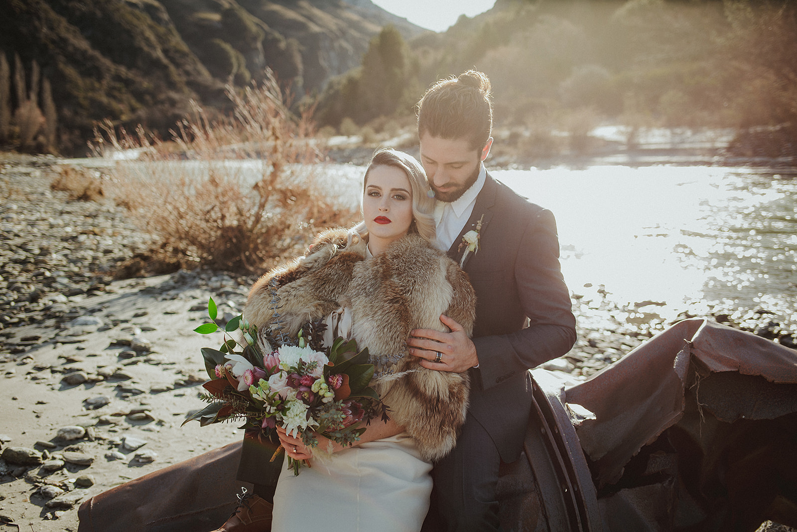 Berries and creams wedding bouquet