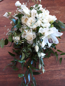 cream and green cascade bouquet