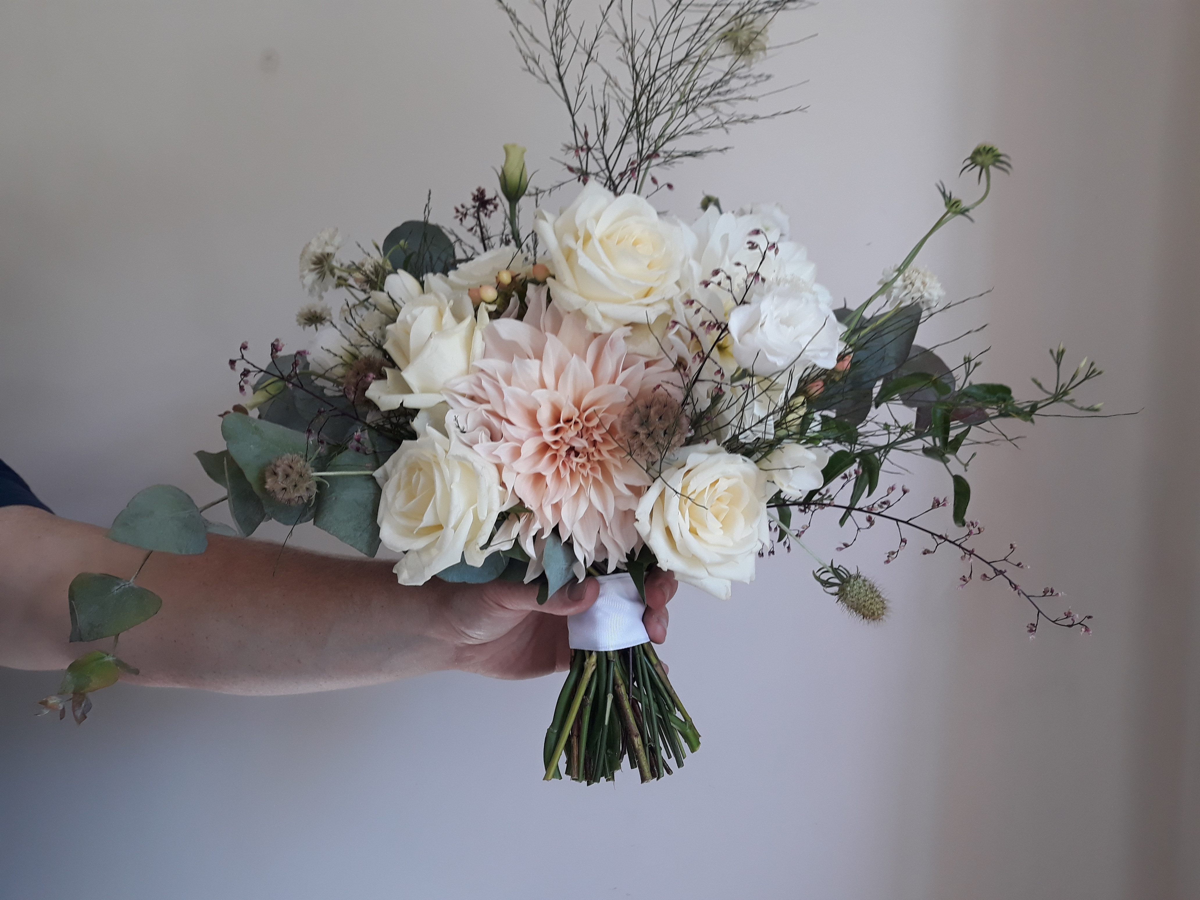 Cream and soft pinks bridal bouquet