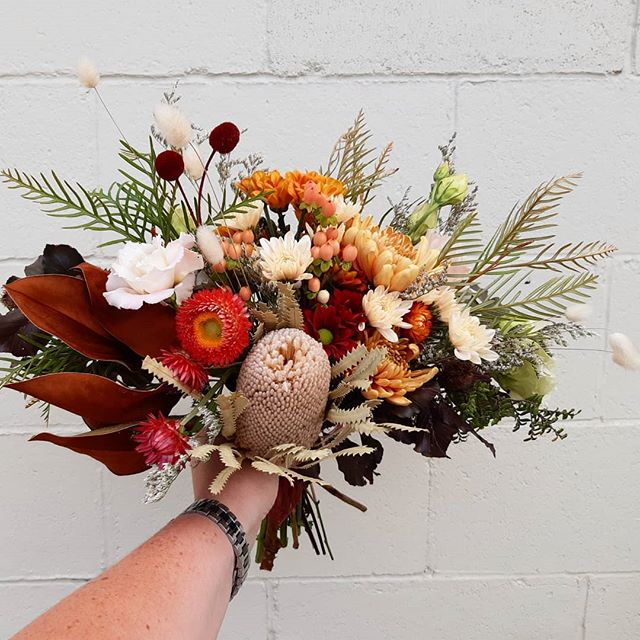 Gabys bridesmaids bouquets in burnt summ