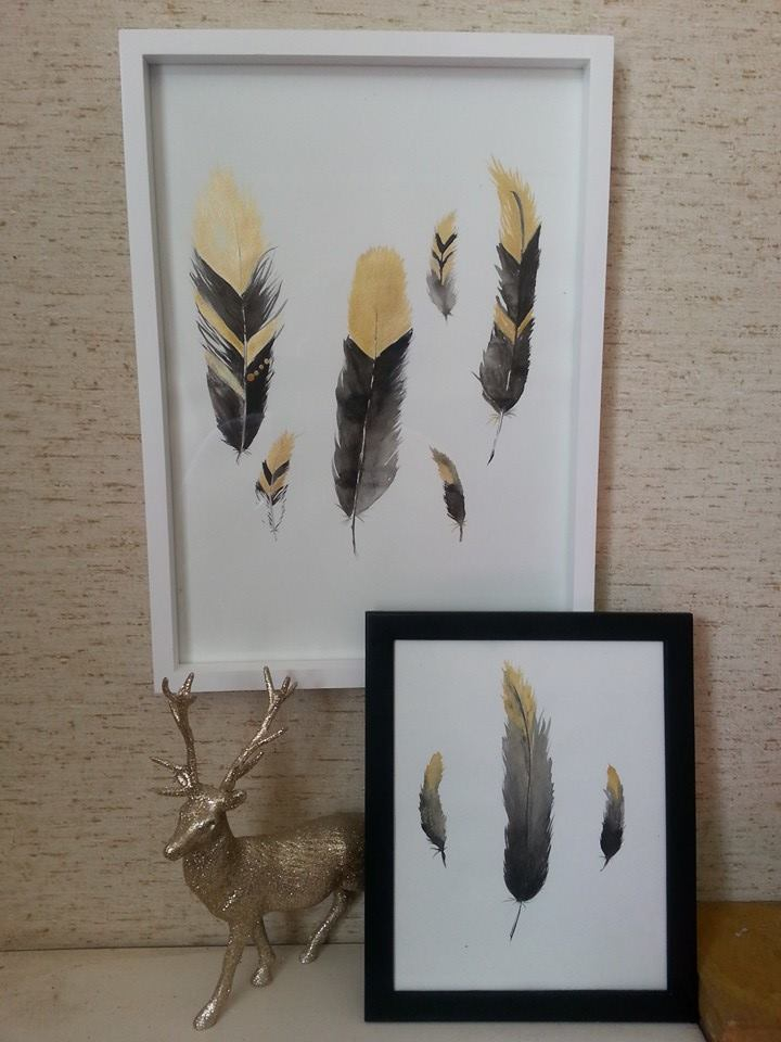 Gold feathers