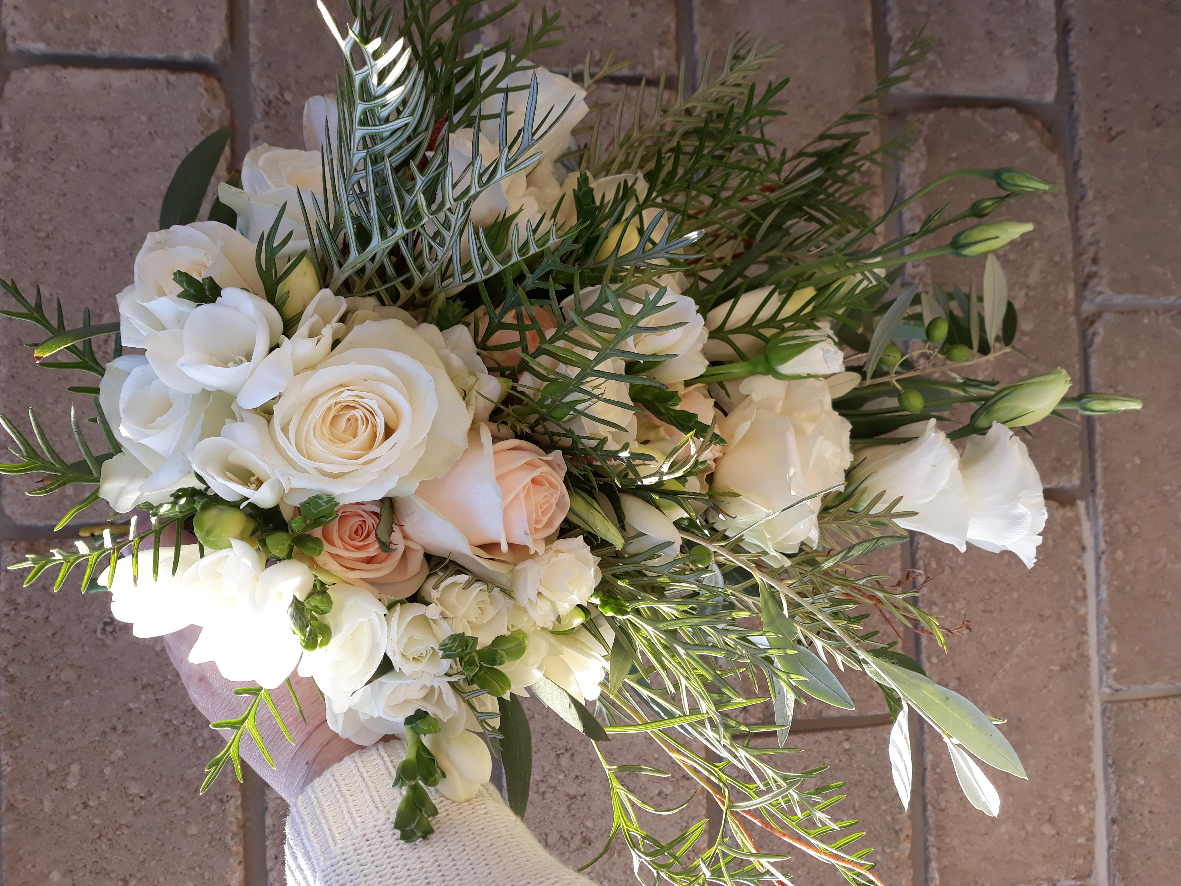 cream and blush cascade bouquet