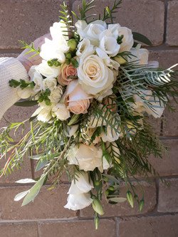 cream and blush cascade bouquet