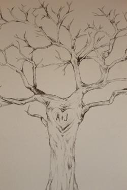 Engagement gift finger print tree