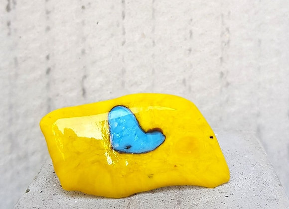 Anel  em Vidros Amarelo e Turquesa da Coleção Miró