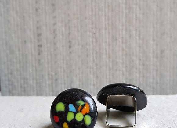 Anel em Vidro Preto e Amarelo da Coleção Miró da Designer Désirée Sessegolo