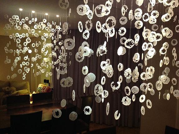 luminária em vidro celular