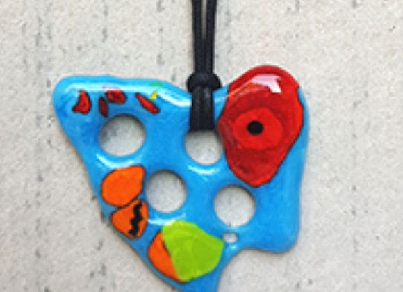 Colar em Vidro Celular Turquesa da Coleção Miró