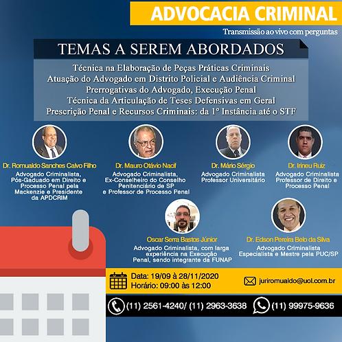 Curso Presencial e à distância de Teoria e Prática da Advocacia Criminal