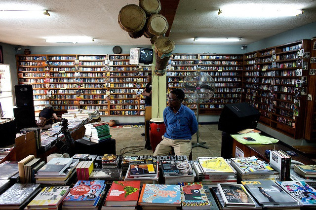 The owner of the jazz hole, a prominent record store waits for curstomers in Nigeria's capital Lagos on Saturday March 28 2009. Source - connectnigeria.com