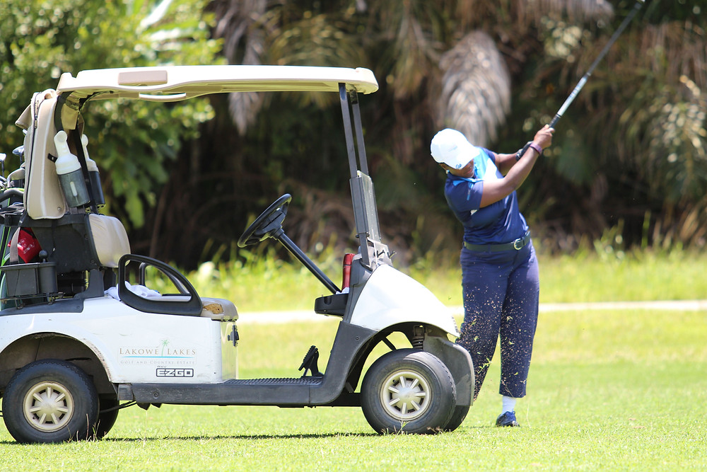 A golfer swings a shot on Day 2 of the tournament