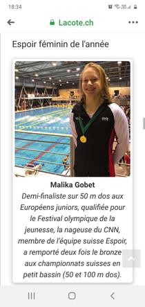 Malika Gobet nominée aux mérites sportifs régionaux 2020