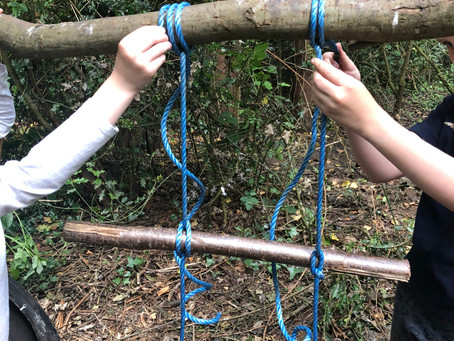 The children are learning knots to create a rope ladder for our tree house.