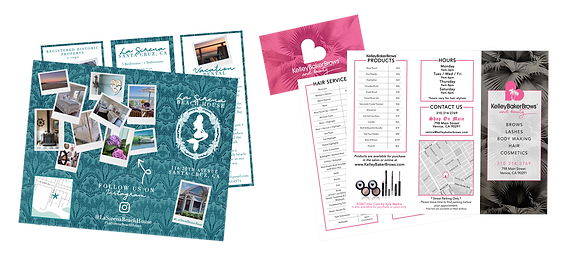 Marketing materials, brochures, business cards, coupon cards, flyers