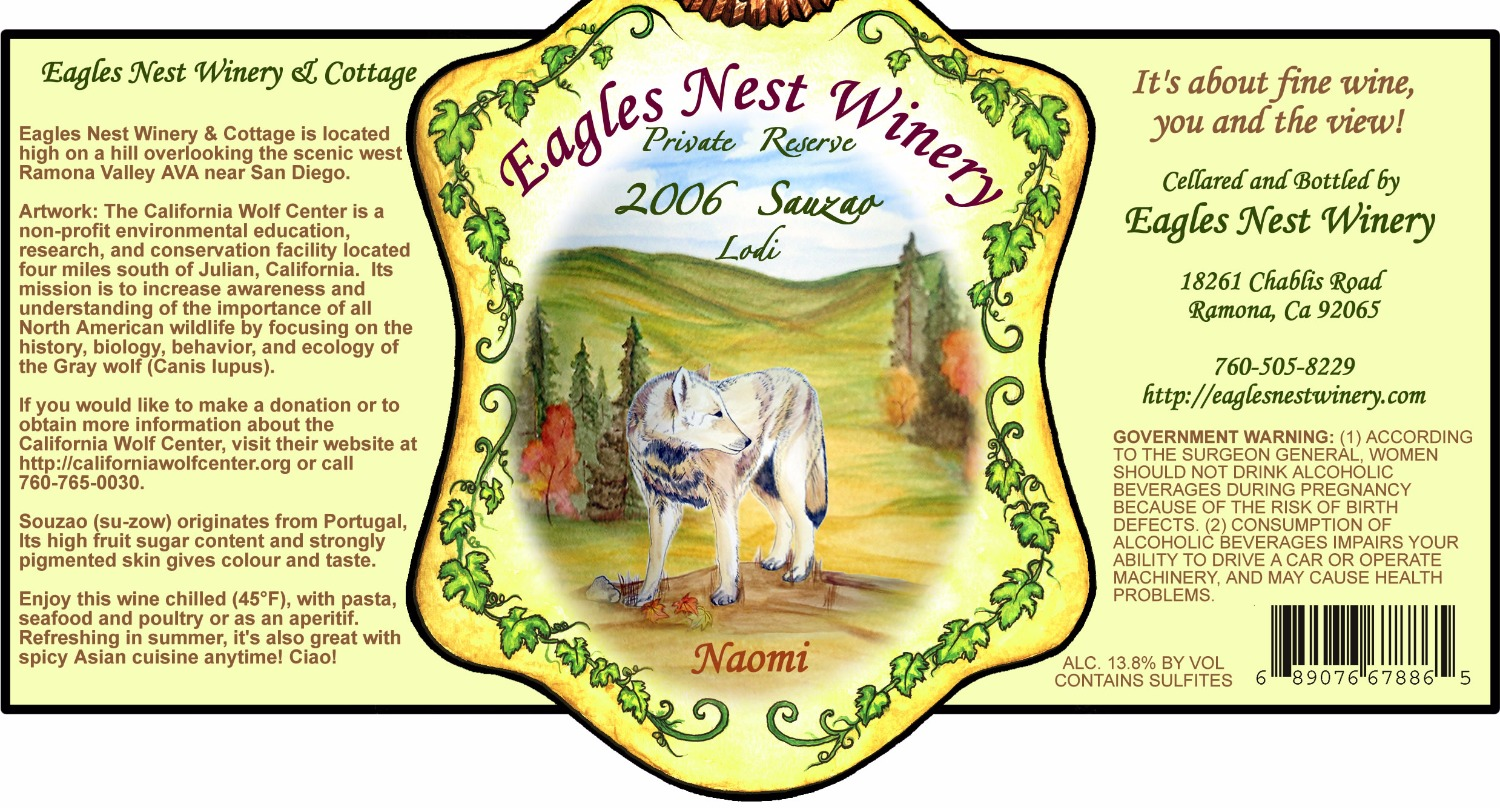 eagles nest winery lable
