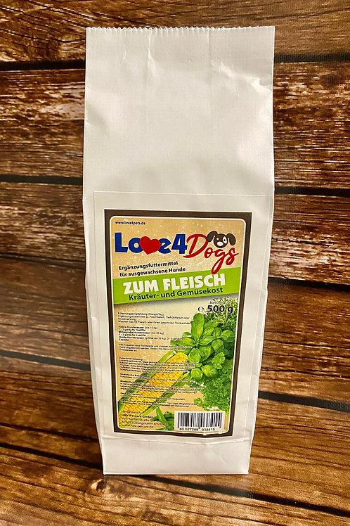 Love4Dogs - ZUM FLEISCH Gemüse- und Kräuterkost 500g