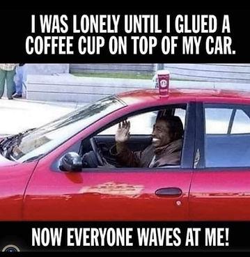 Coffee on car roof meme
