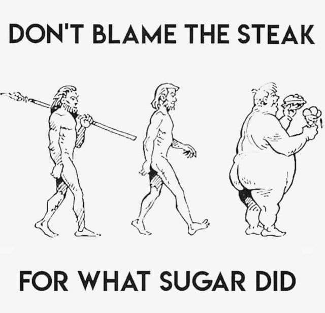 meme about vegans, steak and sugar