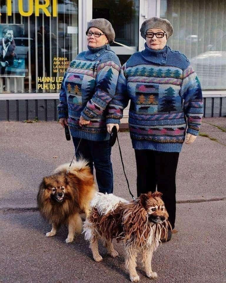Lady Knits Herself And Her Dog