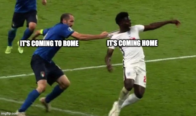 Classic It's Coming To Rome meme featuring jersey pull