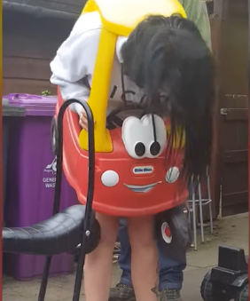 Lady Gets Into Kids Car.. And Gets Stuck!