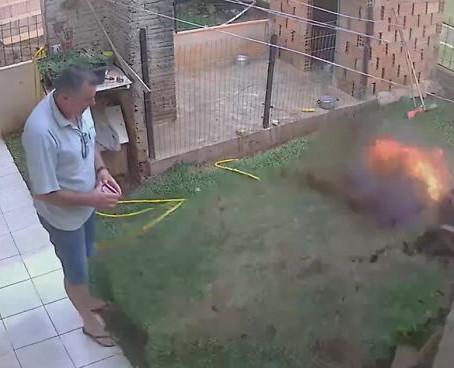 Man accidentally blows his backyard to pieces