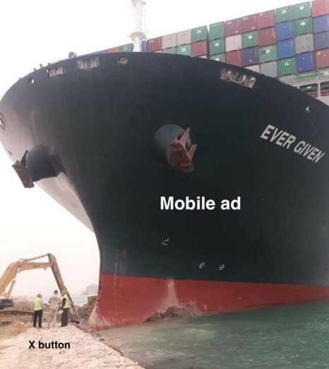 Suez Canal Mobile Phone ad meme
