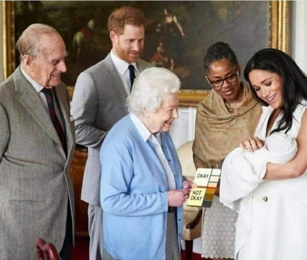 Queen checking shade of Archie's skin meme