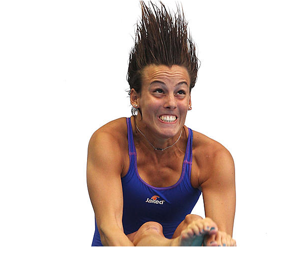 Funny photo of Olympic female diver