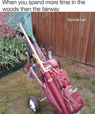 Golf Bag With Gardening Tools In It Meme