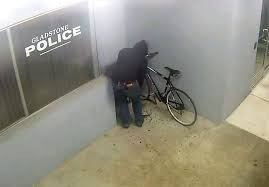Guy tries to steal a bike from a police station....