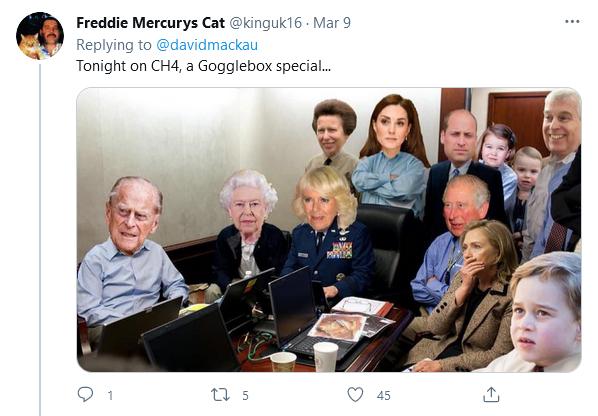 Royal Family watching Oprah interview meme
