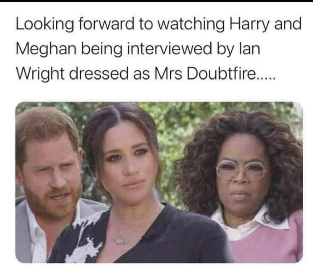 Harry and Meghan Interviews By Mrs Doubtfire Meme