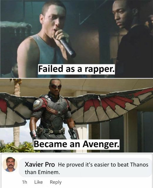 Funny Xavier meme about 8 mile and Avengers and Eminem